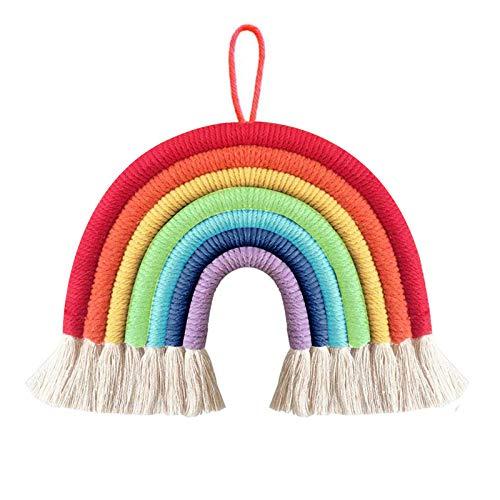 DIAOPIUO Tassel Garland Pom Pom Ball Banner Cotton Tassel Garland Banner Macrame Rainbow Wall Hanging Decor for Boho Home Party (Rainbow)
