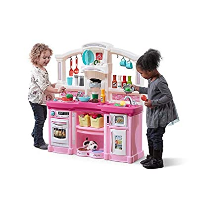 Step2 Fun with Friends Kitchen | Pink Kitchen with Realistic Lights & Sounds |Play Kitchen Set | Pink Kids Kitchen Playset & 45-Pc Kitchen Accessories Set from Step2