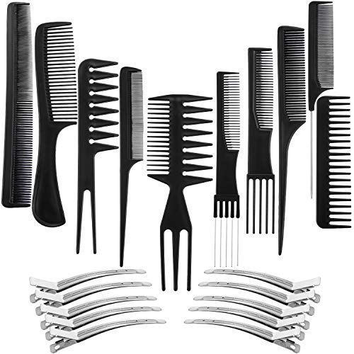 10 Pieces Hair Barber Styling Comb Set with 10 Pieces Duck Bill Clips Hair Cutting Comb Set Salon Anti-static Stylists Comb Clip Set for Women Men (Black)
