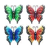 4 Stück Wanddekoration Schmetterlinge Gartenfigur Metall Wohnzimmer Hängend Wand Garten Außendeko, Gartendeko Geeignet Für Schlafzimmer Wohnzimmer Büro Küche Garten Terrasse, Mit 2 Haken