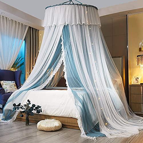 Mosquitera de la cama. Hilado de doble capa Princess Dome Mosquito Net, Patrón Red Tipo de colgante Techo Redondo Casa de cama Se puede utilizar en el dormitorio ( Color : Blue , Size : With light )