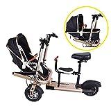FLy Triciclo Plegable Adulto Bicicleta Eléctrica Doble para Niños 2 En 1,...