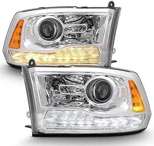VIPMOTOZ Chrome Housing Switchback LED Strip DRL Projector Headlight Headlamp Assembly For 2009 product image