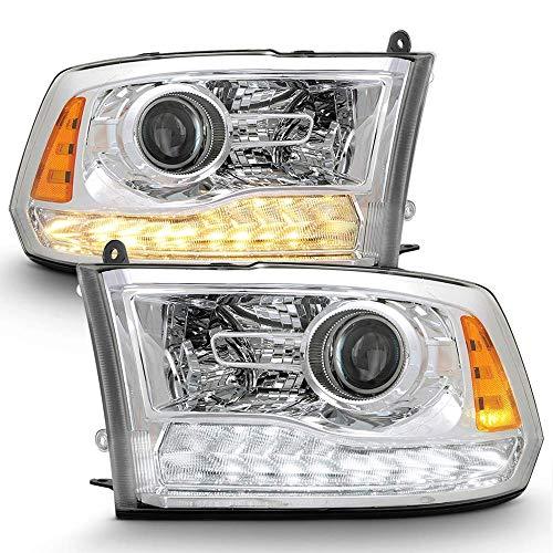 VIPMOTOZ Chrome Housing Switchback LED Strip DRL Projector Headlight Headlamp Assembly For 2009-2018 Dodge RAM 1500 2500 3500 Pickup Truck, Driver & Passenger Side