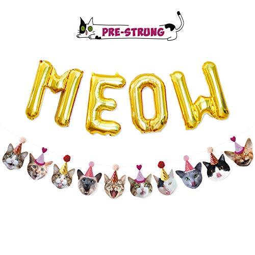 Funny Cat Party Garland Meow Letter Balloons Cats Faces with Party Hats Banner Kitten Bunting Photo Props for Cat Theme Birthday Party Pet Adoption Party Supplies