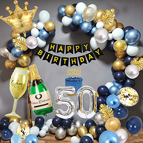 50th Decoraciones Cumpleaños para Hombres, Decoraciones Fiesta Oro Azul con Adorno Para Tartas, Pancarta, Globo Papel Aluminio Forma Copa Vino, Globo Azul Marino, Globos Metálicos Oro Azul Plateado