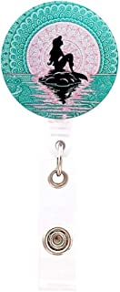 Retractable ID Card Badge Holder with Alligator Clip, Badge Reel Clip on Card Holders for Girls,Women-Beautiful Mermaid