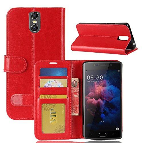 pinlu® Premium Geschäfts Art PU Leder Etui Schutzhülle Für DOOGEE BL7000 Lederhülle Flip Hülle Brieftasche Mit Stand Function Innenschlitzen Design Rot
