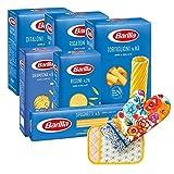 Ducomi Variety Pack con 6 tipi di Pasta Barilla + Presina e Guanto Forno - Rigatoni, Tortiglioni, Risoni, Gramigna, Spaghetti, Ditaloni Rigati 6 x 500 gr - 3kg (Pack D)