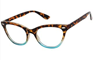 AStyles Vintage Inspired Half Tinted Frame Clear Lens Cat Eye Glasses