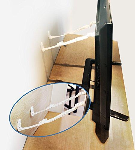 Set ajustable de anclaje antivuelco para muebles. 8 piezas de correas para paredes de seguridad para bebés por Boxiki Kids. Correas de sujeción para terremotos y montajes de pared para TV. (Blanco)