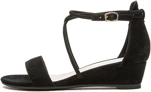 QIDI-sandales Saison D'été Femme Noir gris gris à La Mode Bout Ouvert Chaussures Simples (Couleur   Noir, Taille   EU38 UK5.5)  limite acheter