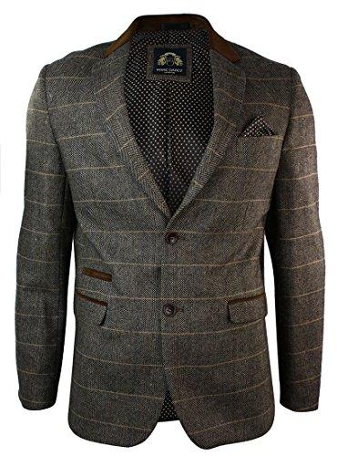 Marc Darcy Herrensakko Karriert Braun Fischgrate Vintage Tweed Design Eng