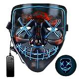 Máscara LED de Halloween, Máscara de purga 3 modos de iluminación, Máscara de miedo de Halloween Máscara de miedo para adultos, niños, Disfraces de fiesta en celebraciones y fiestas de Cosplays001