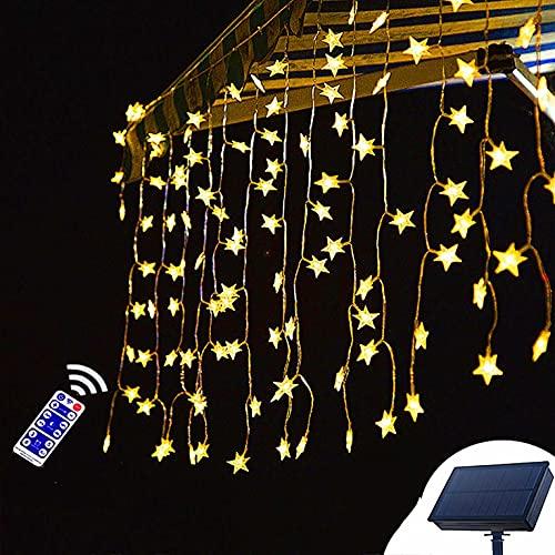 Guirnaldas Luces Exterior Solar Cadena de luz Impermeable al Aire Libre Solar con Control Remoto, para jardín, Boda, Fiesta, Cortina, hogares, Navidad Luces Exterior (Size : 3m*0.8m)