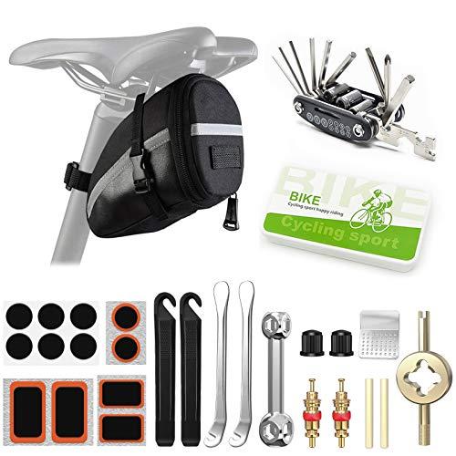 LISOPO Fahrrad Reparatur Set 25 Stück, Fahrrad Flickzeug mit Satteltasche, Reparatur Werkzeug Set 16 in 1 Multifunktionswerkzeug, Fahrrad Flicken, Reifenheber, Knochenschlüssel, Geschenke für Männer