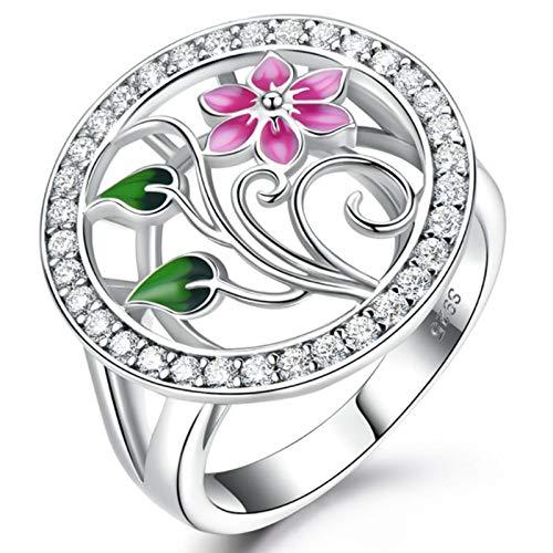 XIRENZHANG Anillo de plata de ley 925 hecho a mano con esmalte, elegante anillo rosa de estilo chino (7#, 8#, 9#) rosa-8#