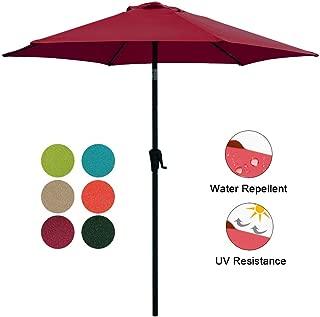 COBANA Patio Umbrella, 7.5' Outdoor Table Market Umbrella with Push Button Tilt/Crank, 6 Ribs, Dark Red