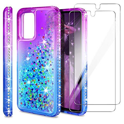 AROYI Handyhülle Kompatibel mit Samsung Galaxy A72 5G Hülle mit 2 Stück Panzerglas, Bling Glitzer Handyhülle TPU Silikon Schutzhülle Bumper Hülle, Gradient Blau Lila