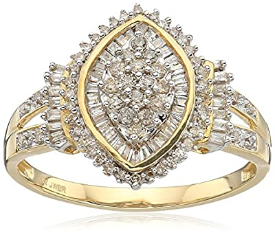 10k Yellow Diamond Gold Cocktail Cluster Ring (1/2 cttw