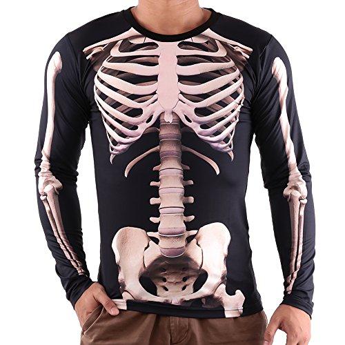 Vin beauty Hombres Esqueleto 3D Impresiones Manga Larga Ropa de la Camiseta de Halloween Strechy Skinny Tops