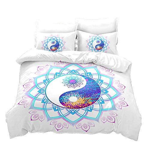 BLZQA Bedding Set 3D Blue Tai Chi Textile Design Decorative 3 Pieces Bedding Set with 1 Duvet Cover 2 Pillowcase King (78.7 x 78.7 inches)