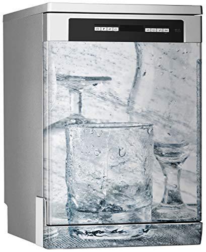 MEGADECOR Vinilo Decorativo para Lavavajillas, Medidas Estandar 67 cm x 76 cm, Cristalería de Lavado Bajo Chorros de Agua