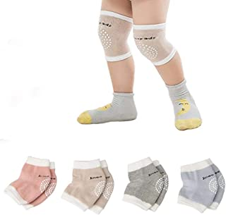 4 Pairs 0-24 Months Baby Knee Pads for Crawling Knee Protector Adjustable Breathable Safety Protector Clothing Accessories Leg Warmer Protective Gear for for Babies Toddlers Infants Boys Girls