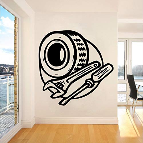 Fyyanm Mechanic Automotive Service Wandaufkleber Abnehmbare Autofenster Wandtattoo Reifenschlüssel Und Schraubendreher Vinyl Wandkunst Wand 57 * 57 Cm