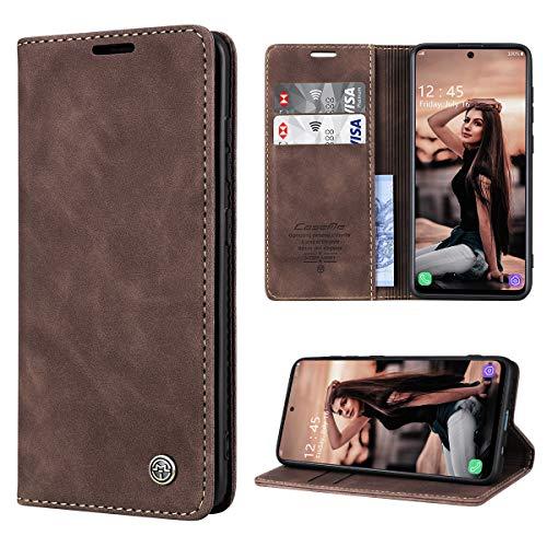 RuiPower Handyhülle für Samsung Galaxy A51 Hülle Premium Leder PU Flip Hülle Magnetisch Klapphülle Wallet Lederhülle Silikon Bumper Schutzhülle für Samsung Galaxy A51 4G Hülle - Koffee