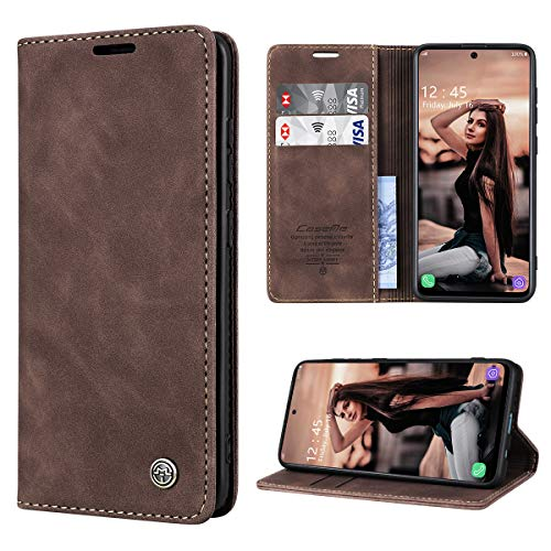 RuiPower Handyhülle für Samsung Galaxy A51 Hülle Premium Leder PU Flip Case Magnetisch Klapphülle Wallet Lederhülle Silikon Bumper Schutzhülle für Samsung Galaxy A51 4G Hülle - Koffee