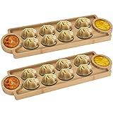 HOKIPO Wood Platter - Pack Of 2, Beige