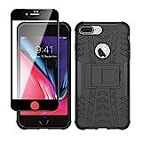 Yiakeng Cover Apple iPhone 7 Plus,Apple iPhone 8 Plus + Pellicola Vetro Temperato, Antiurto Protezione Silicone con Kickstand Rugged Custodia Case per Apple iPhone 7 Plus / 8 Plus (Nero)