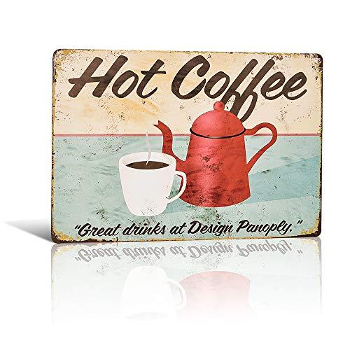 不适用 Fresh & Hot Coffee Served Here, placa de metal retro / cartel para café o cocina