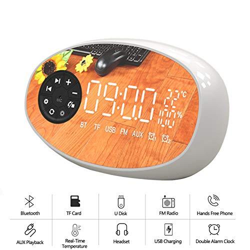 Speaker-EJOYDUTY 2019 upgrade-versie, mini draadloze Bluetooth Hallofi stereo luidspreker met FM-radio, wekker, 18 uur speeltijd, muziekluidsprekers