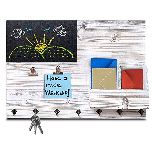 The Ultimate Rustic Wall Organizer! 4-in-1 Key Holder for Wall, Bulletin Board, Memo Chalk Board and Mail Organizer – Kitchen and Entryway Organizer with Keyholder Hooks, Clips and Letter Sorter!