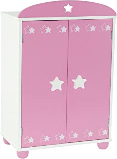 Emily Rose 18 Inch Doll Furniture   Doll Closet Armoire with Star Detail, Includes 5 Wooden Clothes Hangers   Fits 18