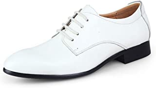 Fashion Low Top Leather Men's Shoes with Leather Shoes Men's Leather Casual Shoes Men's Boots (Color : White, Size : 43)