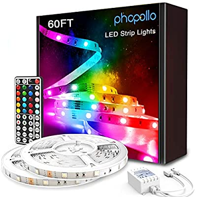 PHOPOLLO Led Strip Lights, 60FT 5050 RGB Flexible Led Lights for Bedroom with 44-Key Remote Controller and 12V Power Supply, Ideal for House and Holiday Decoration