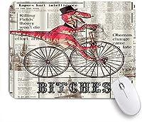 MISCERY マウスパッド 新聞パターンのデジタルプリントに自転車に乗った恐竜 高級感 おしゃれ 防水 端ステッチ 耐久性が良い 滑らかな表面 滑り止めゴム底 24cmx20cm