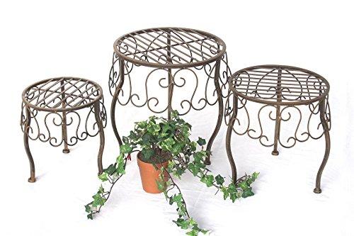 DanDiBo Blumenhocker Metall Braun Rund 3er Set Blumenständer 140129 Beistelltisch Pflanzenständer Klein