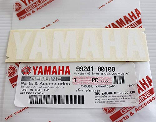 Nuovo 100% Genuine Yamaha Decalcomania Logo Stemma 100mm x 23mm Bianco Adesivo Moto / Jet Ski / Atv / Snowmobile