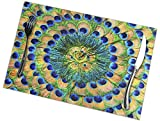 Stylish Peacock Feathers Background 12 X 18 Inch Placemats Set of 6 for Kitchen Dining Table Home Decoration, Washable Non-Slip Stain-Resistant Mats Heat Insulation Mat for Kitchen Dining Table