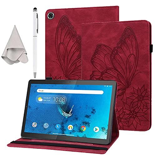 HUOCAI Funda para Lenovo Tab M10 HD (2ª generación) TB-X306X / TB-X306F, Case Ultra Slim Carcasa con Soporte Función Cover Rojo + lápiz táctil