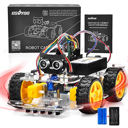 OSOYOO V2.1 Smart Robot Car Kit for Arduino – Controller Board Line Tracking, Ultrasonic Sensor, Bluetooth, Motor Shield, IR Remote Control, Mobile APP – Battery and Charger Included