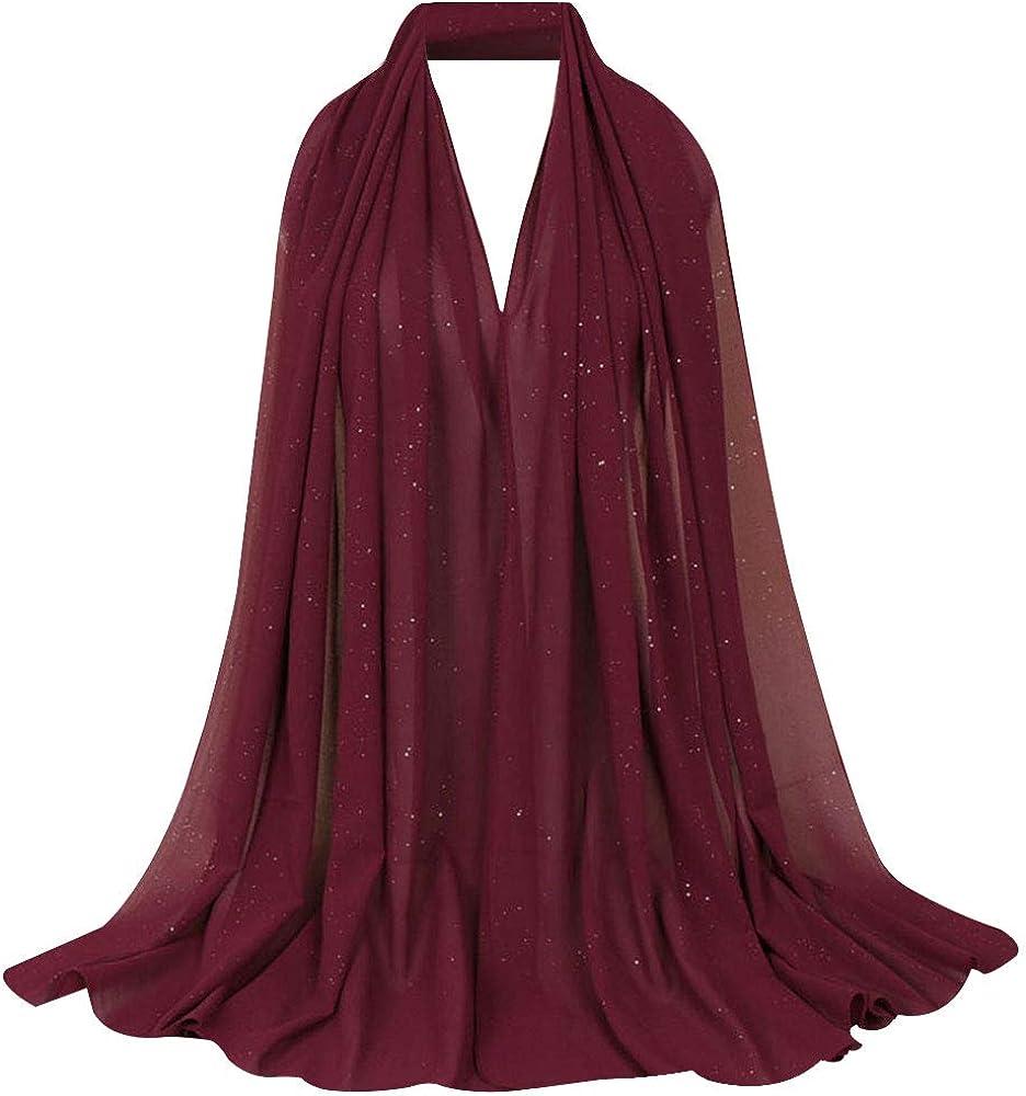 Sun Kea Women's Sheer Chiffon Long Scarf Fashion Sequins Georgette Wrap Shawl Lightweight Go-To Scarves for Ladies