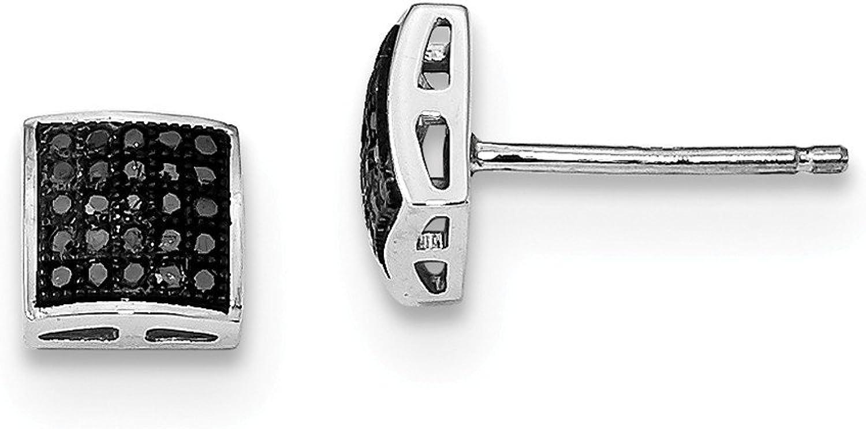 Beautiful Sterling silver 925 sterling Sterling Silver Rhod Plated Black Diamond Earrings