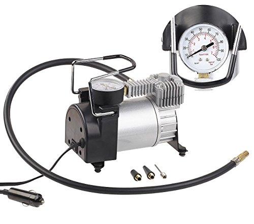 Lescars Luftkompressor: Mini-Luft-Kompressor mit Manometer, 12 V, 100 psi, 168 Watt, 3 Adapter (Kompressor Zigarettenanzünder)