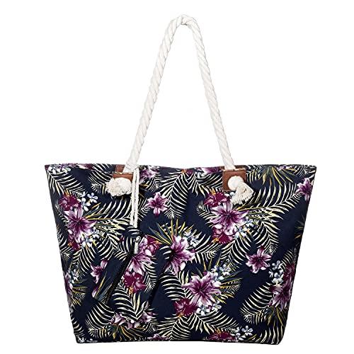 DonDon Bolso de playa grande impermeable con cremallera Fiji Flowers