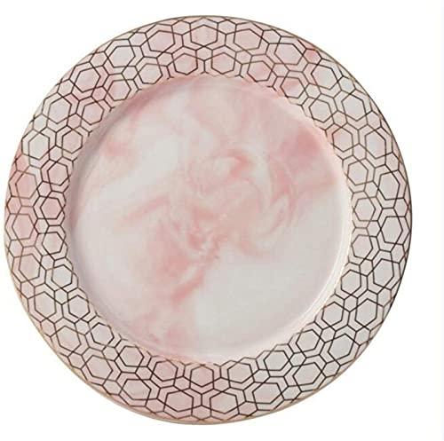Juego de Platos, Conjuntos de cena de cerámica Placas de mármol de alambre de oro Conjunto de cena de cerámica Placa de porcelana Placa de filete Snack Snack Placas Placas de pastel Vajilla, 1pcs, 21.